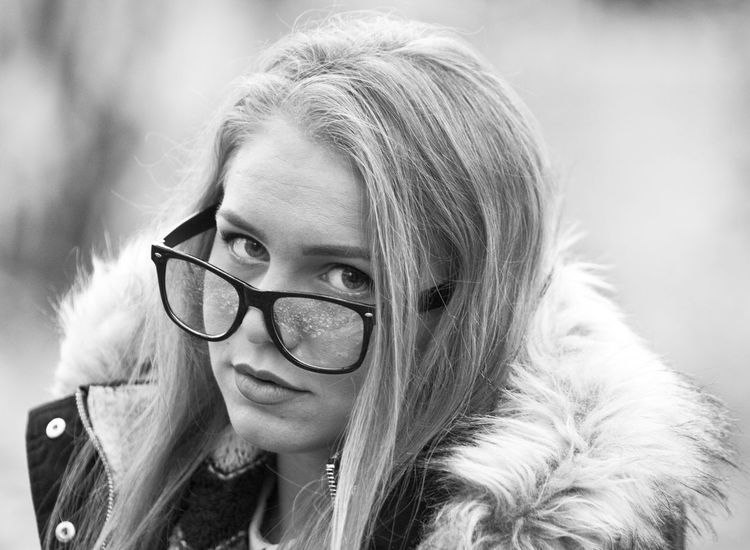 B&w B&w Photo B&W Portrait Beauty Black And White Blackandwhite Blond Hair Close-up Eyes Face Glasses Hair Lips Makeup Only Women Outdoors Portrait Pshyco Theme