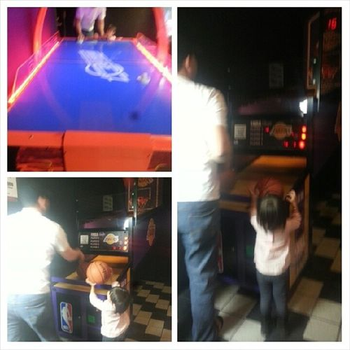 He kicked my ass at basketball shots and I kicked his ass at airhockey Whenworkisslow Weplayarcade at movies next door Lmfao Brotime niece