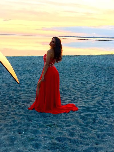 Behind the scene That's Me Model Taking Photos Hello World Sunset Dress Fashion