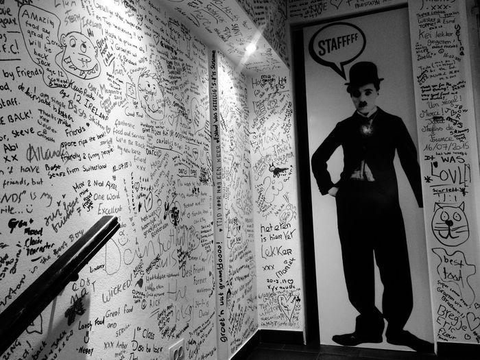 Charliechaplin Toilette Art Writing On The Walls Restaurant SPAIN