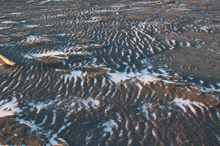 High angle view of winter sea