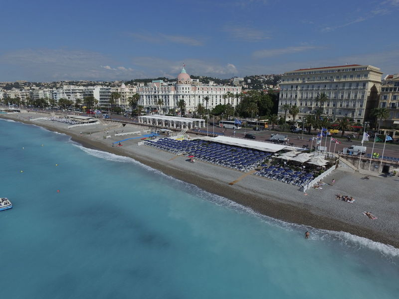 French Riviera Sea Water Tourism Nice Aerial Shot Travel Destinations Blue Negresco Hotel