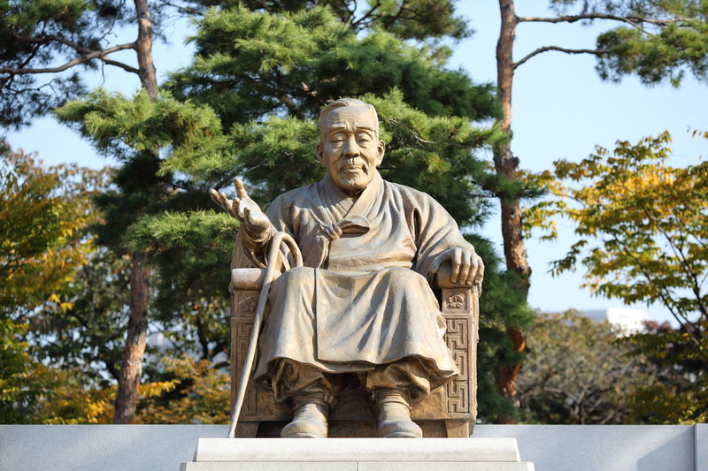 Statue of Yi Si-yeong, first Vice President of the Republic of Korea, in Namsan Park, Seoul, South Korea Seoul Si-yeong South Korea Yi Si-yeong Human Representation Low Angle View Namsan Namsan Park No People Outdoors Park Park - Man Made Space Politician Sculpture Statue Vice President