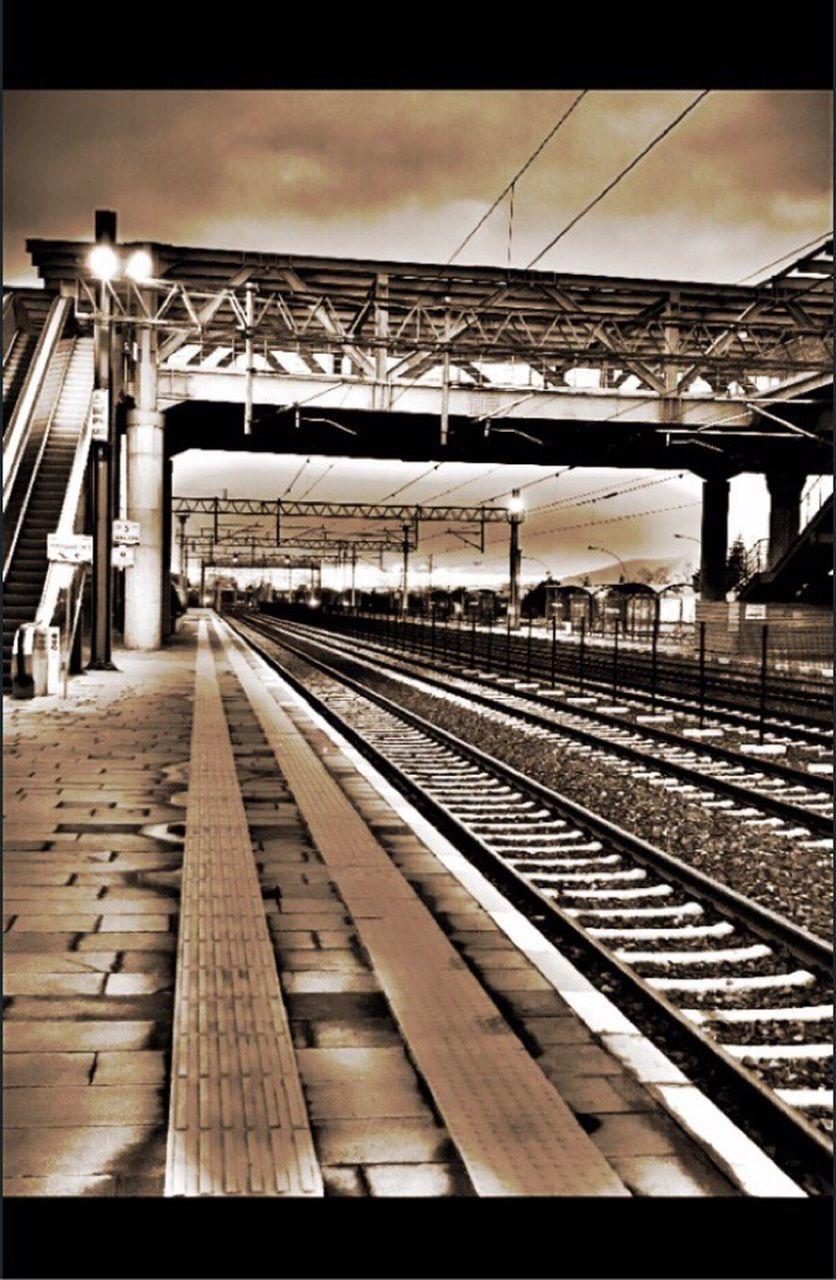 railroad track, transportation, rail transportation, no people, railroad station, sky, railway, public transportation, railroad station platform, cable, outdoors, day
