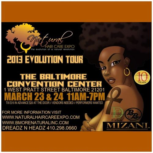 This should be fun. Wanna go @They_CallMeDev??? ⬅ (My sister's Twitter name... ?Follow her ?) BaltimoreNaturalHairCareExpo 2013EvolutionTour BaltimoreConventionCenter