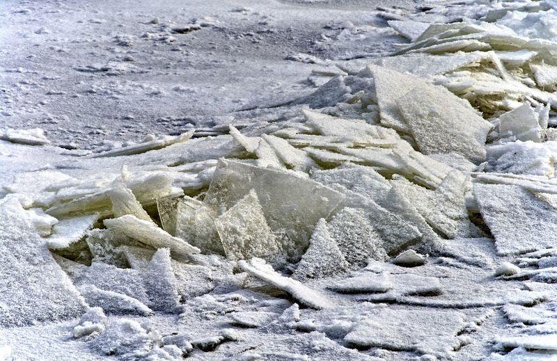Full frame shot of rocks in snow
