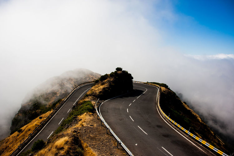 High angle view of road on mountain against sky