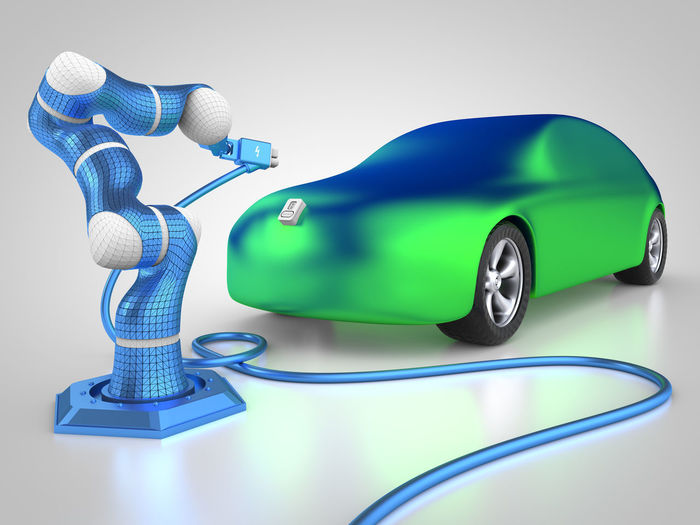electric car charging 3D 3d Rendering Auto Autobody Automobile Automobile Industry Cable Car Carbody Charging Charging Cable Charging Electric Car Electric Electric Car Electric Car Charging Electricity  Green Color Rendering Robot Robotic Robotic Arm Robotics Tech Technology Vehicle