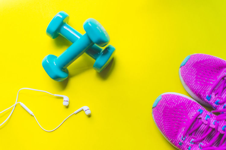 Fitness Gym Equipment Weight Exercise Healthy Earphone Song Sneakers Dumbbell