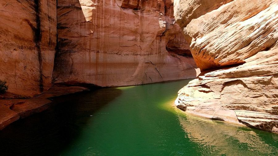 Rock - Object Rock Formation No People Nature Travel Destinations Day Beauty In Nature Water Scenics DesertCanyon Lake Powell Lake Powell Lakeview Green Water Boat Trip Antelope Slot Canyon
