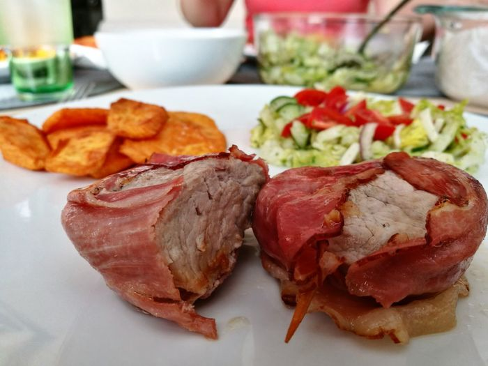 Plate Food Meat Food And Drink Freshness Healthy Eating Lunch Sweet Potato Salad Yummy Fine Dining LactoseFree Glutenfree Visual Feast