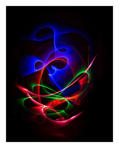 Studio Shot Black Background Multi Colored Abstract Illuminated Close-up No People