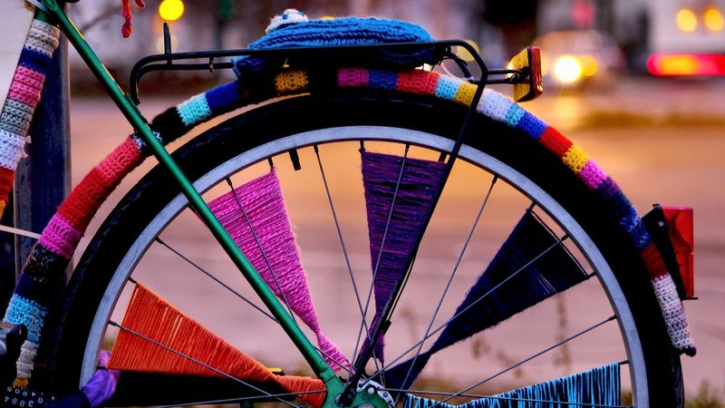 Berlin Photography City Life Colourful Knitting Abstract Art In The City Bycicle Knitted Bike Knitting Art