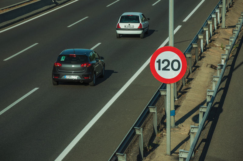 Traffic sign on road in city
