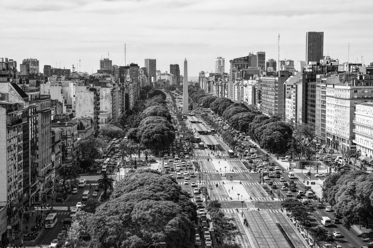 Obelisco Obelisc Street Calle Blanco Y Negro Blackandwhite Caba Argentina Buenos Aires City Cityscape Sky Skyscraper Outdoors High Angle View Cloud - Sky Day No People Travel Destinations Tree Urban Skyline
