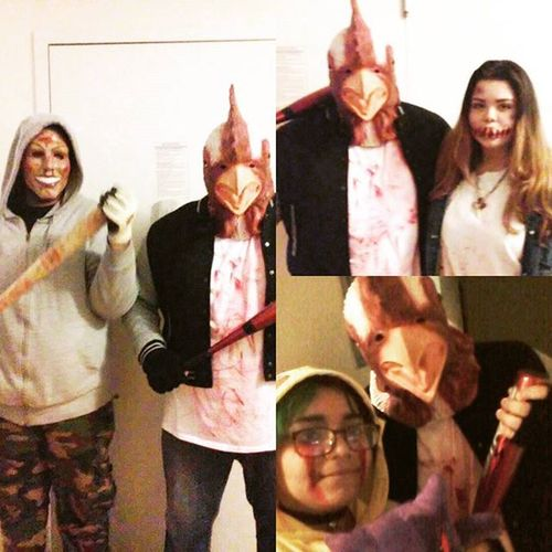 Had alot of fun today out and about with these amazing people and dressing up as one of my favorite games 😄😄 Happyhalloween Nerd Somuchfun Halloweenspirit Halloween Devolverdigital Jacket Hotlinemiami2 HotlineMiami Thepurge Family Gamer Geek Costumes Greatime Richard