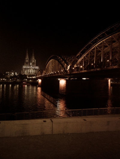Köln Kölner Dom Arch Arch Bridge Architecture Bridge Bridge - Man Made Structure Building Exterior Built Structure City Connection Germany Illuminated Nature Night No People Outdoors River Sky Transportation Travel Destinations Water Waterfront