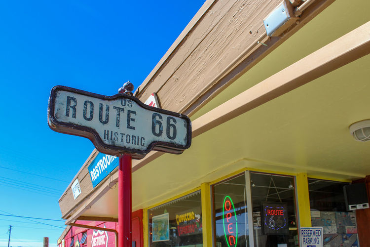 Low Angle View Western Script Text Communication Sign No People Nature Route 66