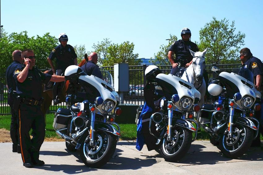 Ok, better watch my step. Police Motorcycles Test Drive On The Road Electric Car A Day In The Life