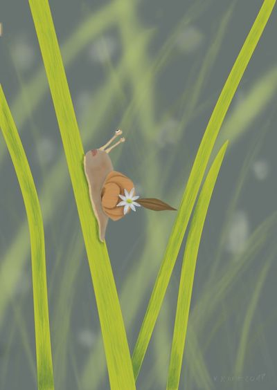 On the way to the top Digjtal Art Sketchbook Pro MYArtwork❤ Myartwork Snail🐌 Snail Digital Art Digital Painting Surrealist Art Surrealism And Fantasy Art Digital Surrealism Sketchbookpro Living Organism Insect Animal Themes Grass