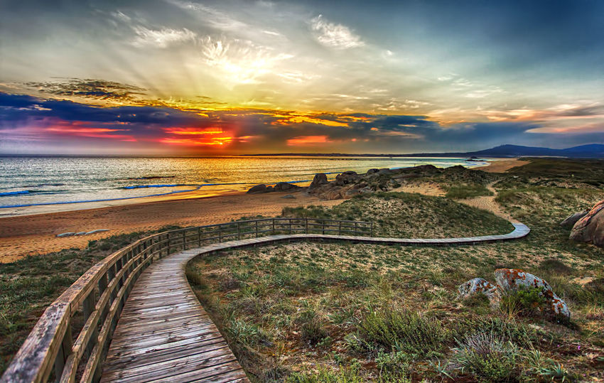 Cloud - Sky Sunset Landscape Field No People Amazing Sunset Champa Galifornia Seascape Sand Beauty In Nature Red Sky Corrubedo HDR