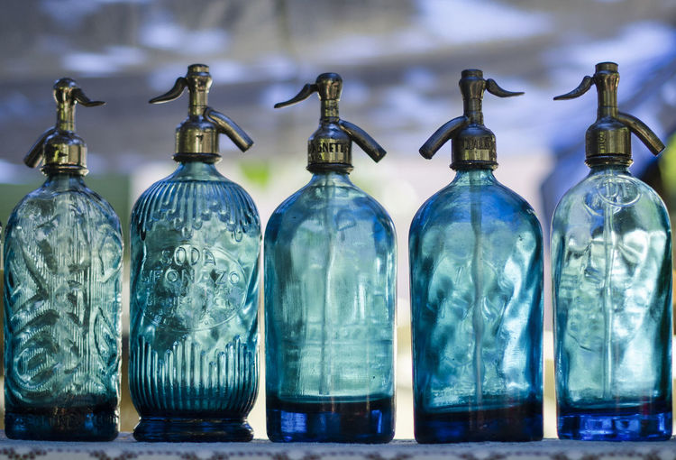 Close-up of glass bottles