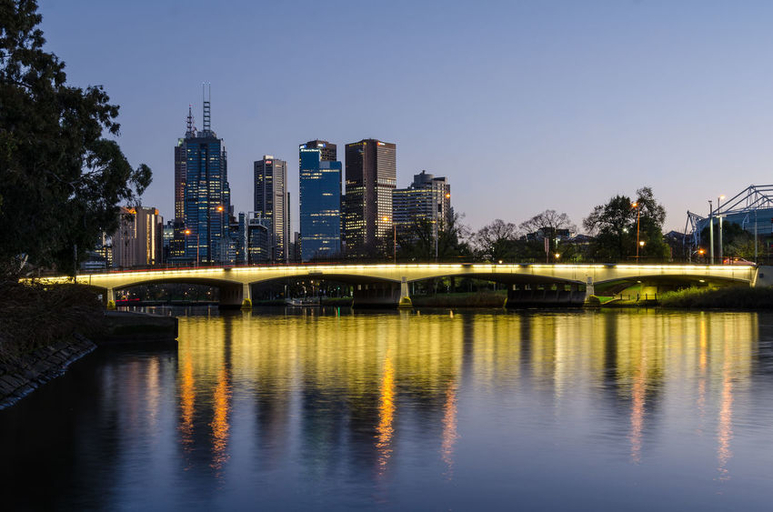 Dawn view of Melbourne City Architecture Bridge Built Structure City Connection Horizontal Symmetry Illuminated Melbourne Modern River Symmetry Water Waterfront