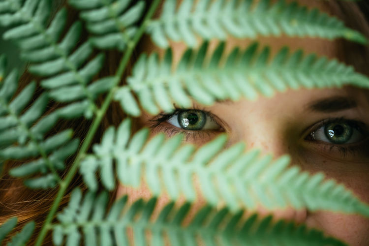 Cropped portrait of woman seen through fern leaves