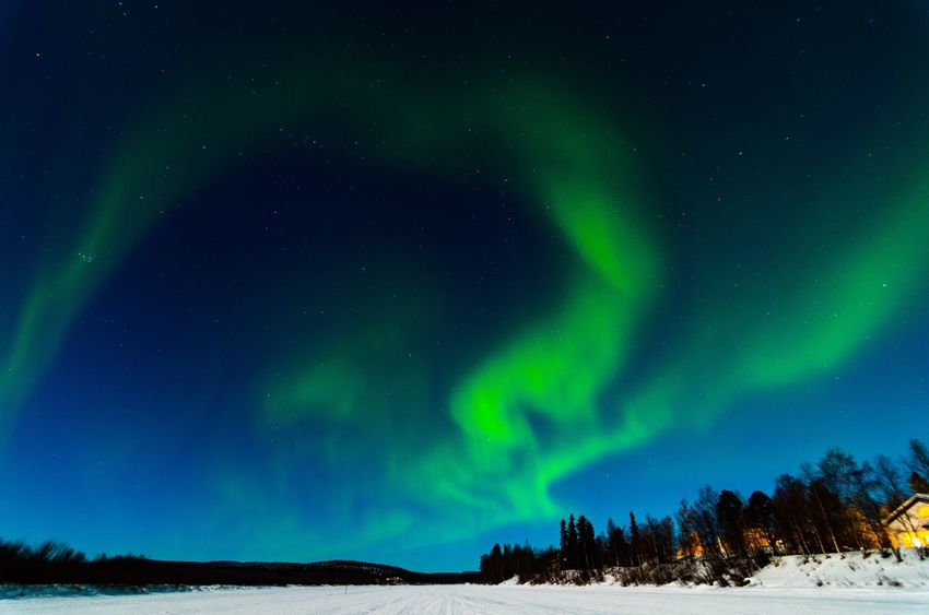 Aurora Night Finland Ivalo Green Color Snow Cold Temperature Sky Beauty In Nature Landscape No People