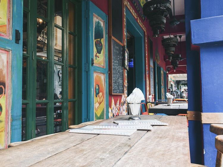 Outdoor restaurant - Haji Lane in Singapore Outdoors Restaurant Public Places No People Day Table Setting Tables Napkins Empty Close-up Singapore Chalkboard Painting