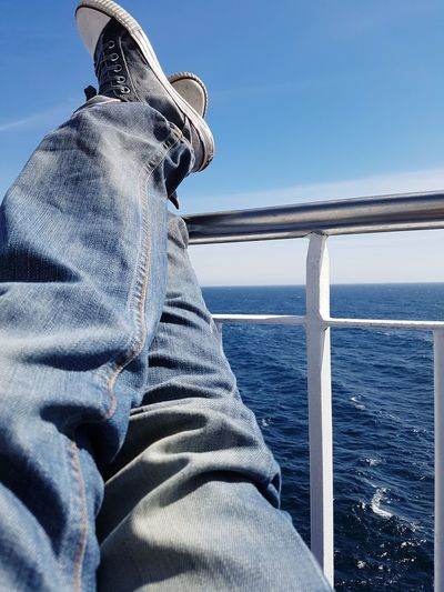 Relaxing At The Ocean Ship Cruise On The Way EyeEm Selects Sea Blue Water Horizon Over Water Nature Adult Sky Outdoors Nautical Vessel Close-up One Person