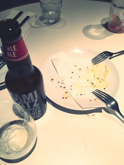 Table Fork Indoors  Bottle High Angle View No People Food And Drink Plate Drinking Glass Close-up Day