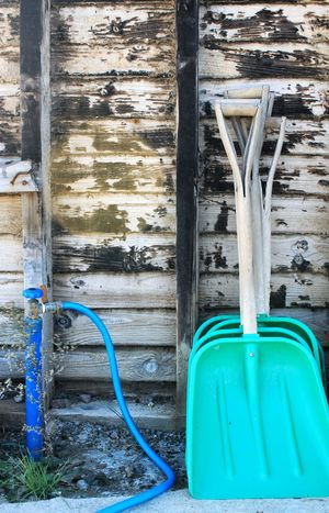 Abandoned Bad Condition Blue Hose Destruction Green Spade Obsolete Ruined Working Tools