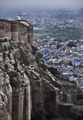 High angle view of mehrangarh fort and residential district