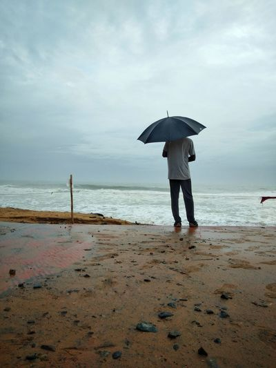 Water Sea Beach Full Length Sand Protection Standing Women Storm Cloud Sky Rainy Season Monsoon Rainfall Beach Umbrella Umbrella Rain Wet Drop Foggy Weather