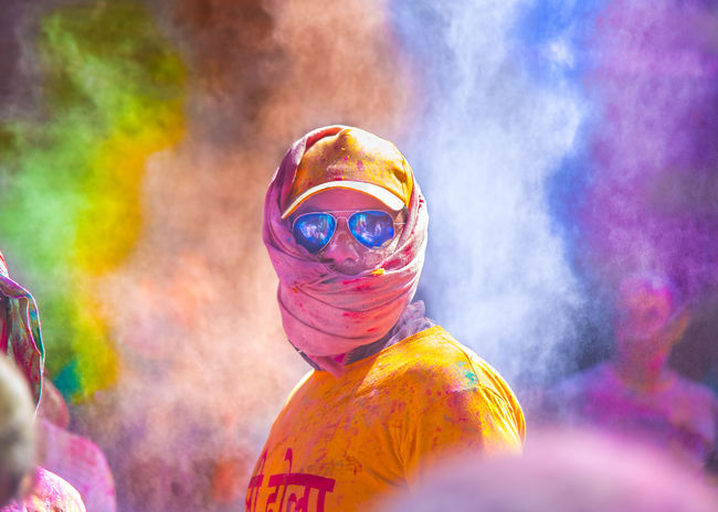 Multi Colored Celebration Holi Fun Cultures Happiness Traditional Festival Face Powder Dancing Real People Sunglasess Color Explosion Colorsplash Colourful Colour Portrait Face People EyeEm Diversity