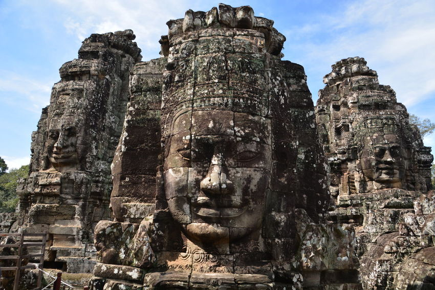 The faces of Angkor Wat Temples- Cambodia. Travel Destinations Place Of Worship Statue Tourism Close-upOld Ruin Travel Cultures Ancient Ancient Civilization Architecture Spirituality Symbol No People Outdoors Day Sky Cambodia Travel World Heritage World Traveller EyeEmNewHere Eyes Wide Open Architecture Special👌shot