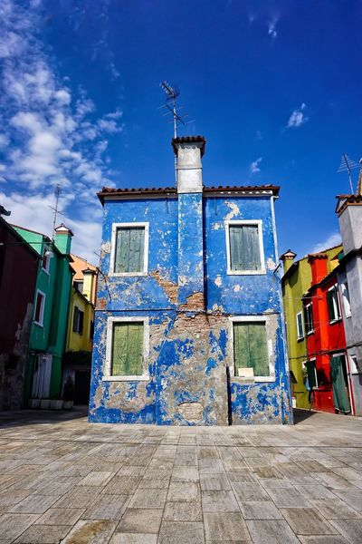 Burano, Italy Burano Burano, Venice Painted Houses Building Exterior Built Structure Architecture Colourful Colorful Colourfulbuilding House Blue Blue Sky Beautiful Buildings Character Charming Charming Houses Shabby Cloud - Sky Dilapidated Low Angle View Outdoors Italy
