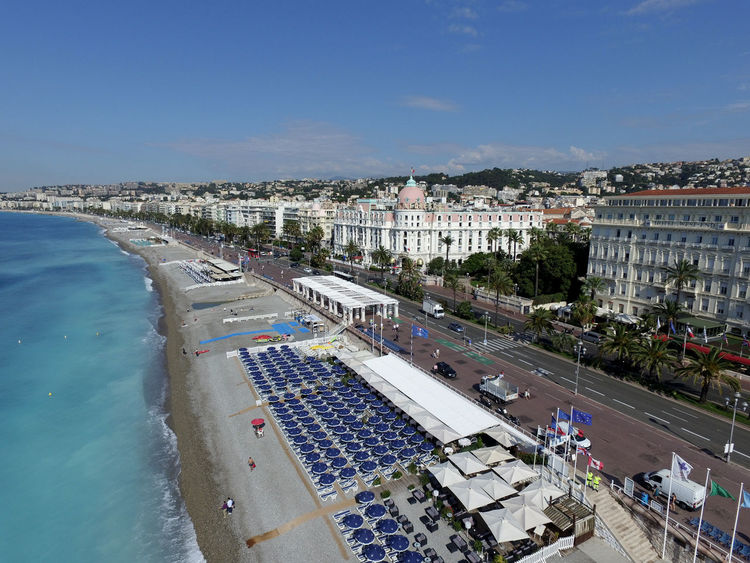 Aerial and rare shot of the Promenade des Anglais in Nice Negresco Hotel Promenade Des Anglais Aerial View Architecture Building Exterior Built Structure City Cityscape Day High Angle View Nice No People Outdoors Sea Sky Tree Water