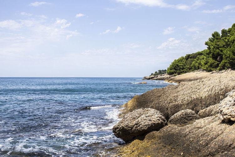 Water Beauty In Nature Nature Outdoors Rocky Coastline Cloud - Sky Day Beach Sky Sea Tree Rock - Object Rock Land Horizon