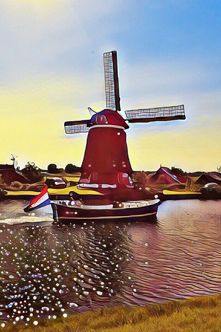 nautical vessel, water, sky, wind power, alternative energy, no people, wind turbine, windmill, outdoors, cloud - sky, sunset, traditional windmill, architecture, nature, day