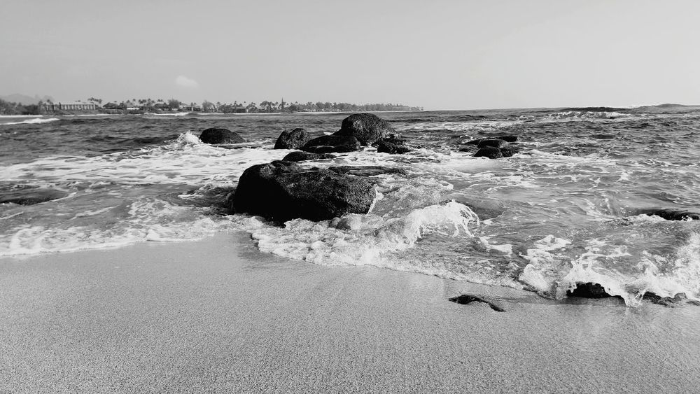 Water Motion Beach Nature Outdoors Rocks In Water Beach Life Serenity And Nature Beach Photogrqphy Kauai Life Tranquility Horizon Over Water Blackandwhite Photography