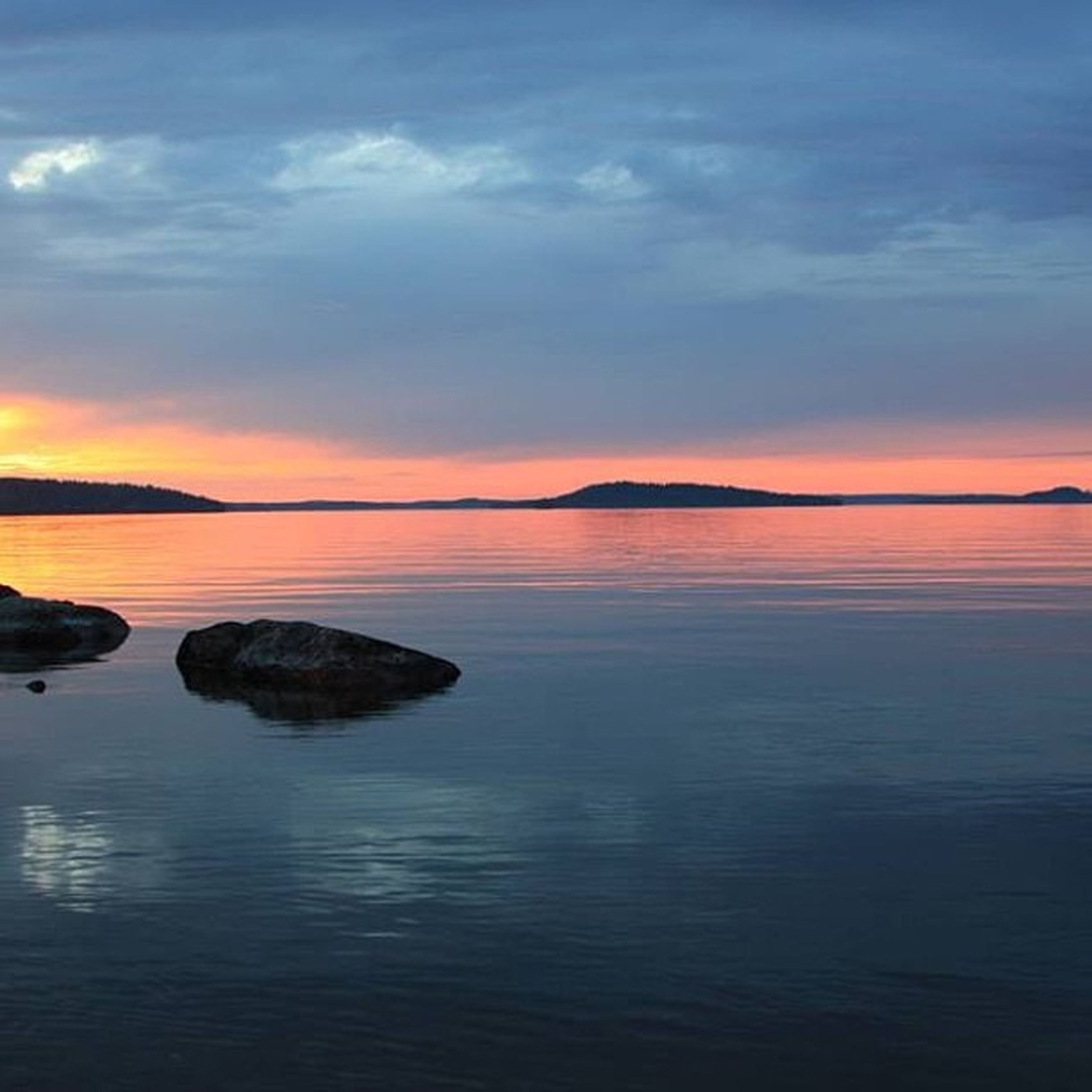 water, sunset, tranquil scene, scenics, tranquility, beauty in nature, sky, waterfront, reflection, orange color, idyllic, sea, nature, cloud - sky, lake, rock - object, rippled, dusk, cloud, non-urban scene