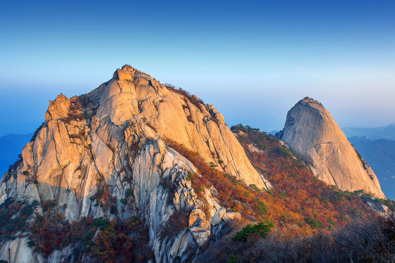 Bukhansan mountains in autumn,Seoul in South Korea. Autumn Beauty In Nature Day Landscape Mountain Mountain Range Nature No People Outdoors Rock - Object Scenics Sky