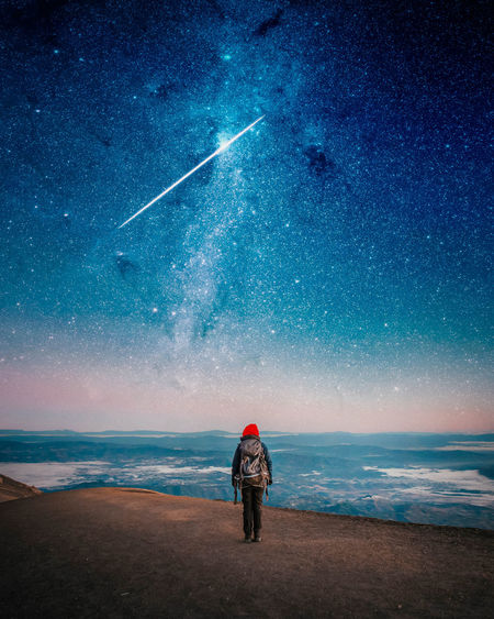 Sky Water Star - Space Astronomy One Person Space Beauty In Nature Standing Night Beach Outdoors Milky Way Scenics - Nature Real People Photography Nature Fantasy Travel Travel Destinations Traveling Backpack Wanderlust Canon View Star Capture Tomorrow