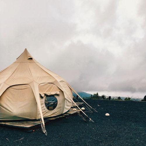 Tent on land against sky mars vulcano