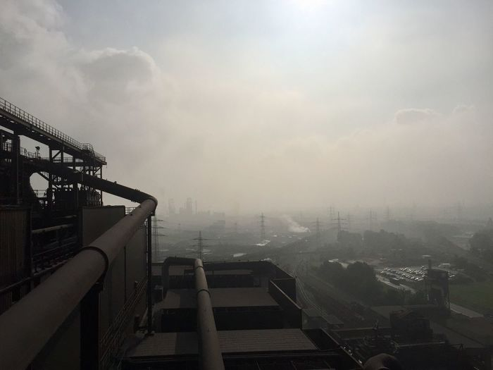 Architecture Building Exterior Built Structure Sky Cloud - Sky Fog City Nature Cityscape No People Building Day Outdoors High Angle View Railing Residential District Environment Pollution Smog Air Pollution
