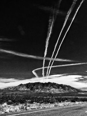 Planes in the desert sky