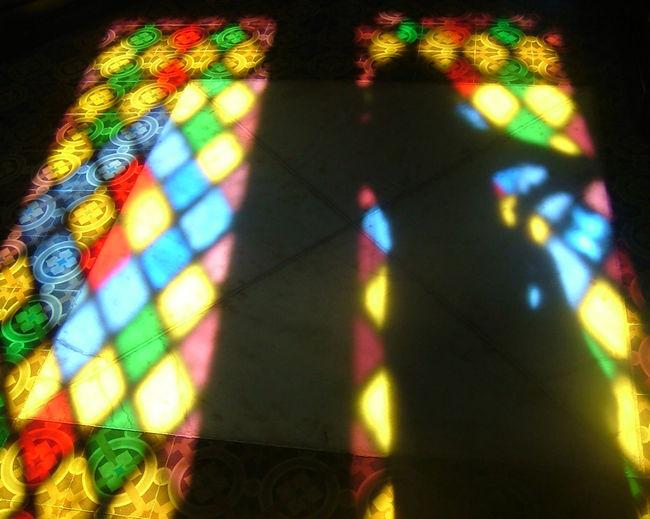 High angle view of illuminated lights falling on wall