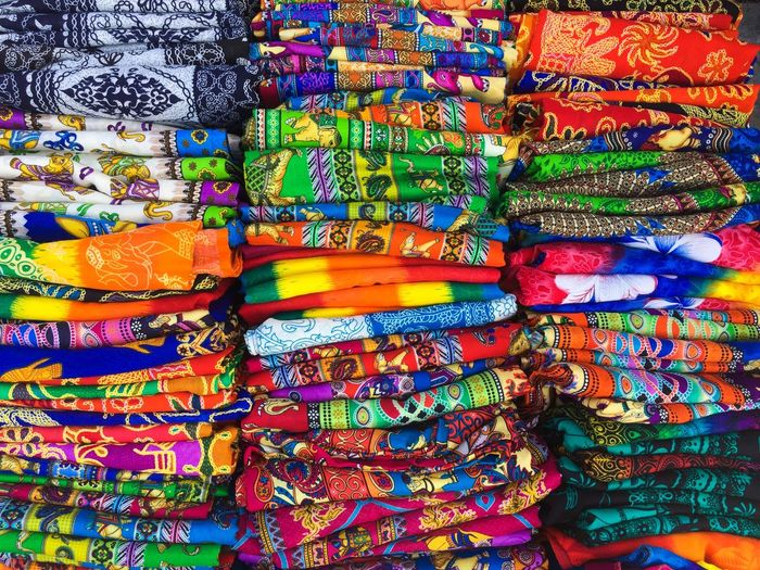 Full frame shot of multi colored bed sheets for sale in market
